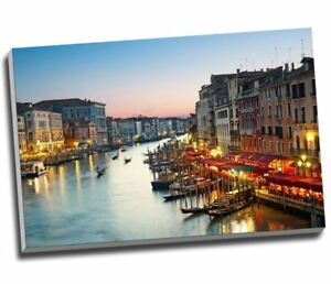"""Venice Canvas Grand Canal After Sunset, Canvas Print Large A1 30x20"""""""