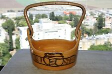 Vintage Israel Ceramic Pottery Art Studio Hand Painted Glazed Bowl Wooden Handle