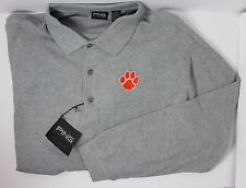 Clemson Tigers Men's 2XL Grey Long Sleeve Ping Collection Polo Shirt NWT