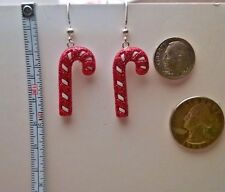 Peppermint Candy Cane white with red Glittery Dangle Earrings