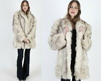 Vintage 80s Arctic Fox Coat Real Fur Swirl Slv Chubby Corded Shawl Collar Jacket