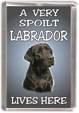 """Labrador (Black) Dog Fridge Magnet  """"A VERY SPOILT LABRADOR LIVES HERE"""""""