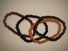 Set of 4 Assorted Colors (E-45) 7-8mm Wooden Beaded Ankle Tribal Bracelets