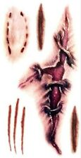 Tatouage temporaire déguisement Halloween cicatrices, morsures, griffe, body art