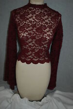 Jr Womens BURGUNDY FLORAL LACE CROP TOP High Neck BELL SLEEVES Scallop Edge SZ M