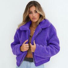 Womens Faux Fur Teddy Bear Fleece Coat Ladies Jacket Sweater Hooded Overcoat US