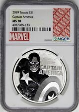 2019 $1 Tuvalu 1 oz Silver Marvel Captain America NGC MS70