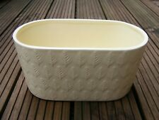 Ceramic Pale Yellow Oval Plant Pot Holder With Embossed Spruce Pattern