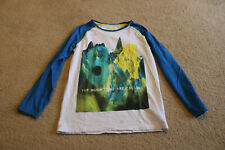 "M&S Boys White&Blue Long Sleeve T-Shirt ""The Mountains Are Calling"" Sz 13-14 Yrs"