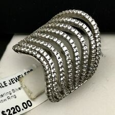 Rhodium .925 Sterling Silver Cubic Zirconia Multi Wavy Row Ring Size 6. NEW .