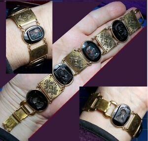 1 Vintage 4 Facing Male & Female Cameos Gold Filled Onyx Bracelet Unique Cameos: