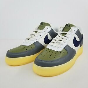 Nike Air Force 1 Low Ess ID Gray White Navy CT7875-994 Men's Size 10 No Lid