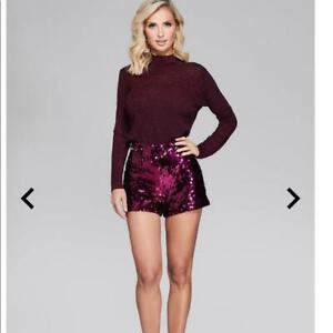nwt $120 marciano pink sequin dress shorts m