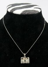 "Necklace, Camera - Silver & Crystal w/18"" chain"