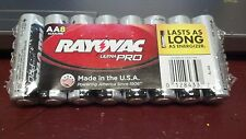 BATTERIES, ALKALINE, RAYOVAC, AA, (8), ULTRA PRO, MADE IN THE USA, LASTS LONG