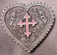 Pewter Belt Buckle Western Grace Heart Pink Cross NEW