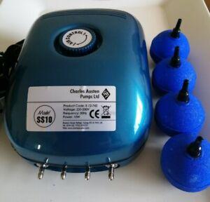 """Hailea Charles Austen Aquarium Air Pump 4 Outlets + 4 Air Stones (2"""") + Air Line"""