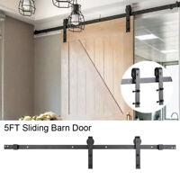 UK 5ft Sliding Wood Barn Door Track System Kit Hardware Set Stainless Steel