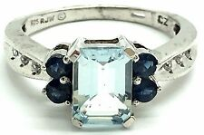 Sterling Silver 925 Emerald Cut Aquamarine Sapphire CZ Accent Cocktail Band Ring