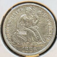 1886 Seated Liberty Dime 10c High Grade XF - AU Details Philadelphia #12317