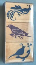 New Set of 3 Bird Silhouette Wood Mounted Rubber Stamps Hero Arts NIP