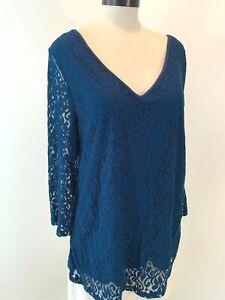 LANE BRYANT Women's 18/20~XL Plus Blue-Lace 3/4-Sleeve Rayon+ Top Blouse Shirt