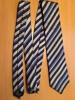 NEXT Men's 100% Silk Blue White Striped Tie Neck Tie Very Good Condition