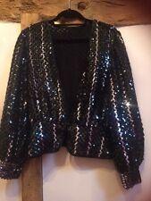 Vera Mont con lentejuelas de noche/Black Tie Chaqueta Talla 12 en muy buena condición