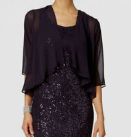 $106 S.L. Fashions Women's Purple Open-Front Chiffon Tasseled Capelet Size 12