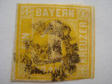 Bayern gelb einser Kreuzer Briefmarke Mühlradstempel 211Original nicht schwarzer