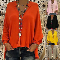 Womens Plain Tops Ladies Summer Loose Long Sleeve Tunic T Shirt Blouse Plus Size