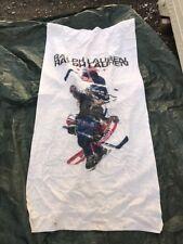 Vntg 1967 Polo Sport Ralph Lauren Bear Beach Towel Hockey Olympic Colors USA