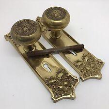 WOW!! Brass Antique Door Knob & Keyhole Plate Hardware Set, Beautiful! (RF626)