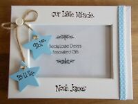 Handcrafted Personalised Newborn Baby Boy Photo Frame Keepsake Gift 6x4