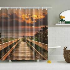 Dusk Bridge Scenery Polyester Waterproof Bathroom Fabric Shower Curtain 12 Hook