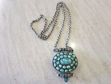 STERLING SILVER VINTAGE ONE OF A KIND TURQUOISE PENDENT-NECKLACE  115. GRAM