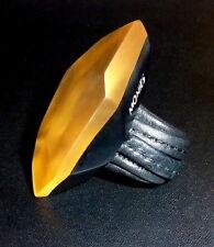 Vintage Gerda Lynggaard Monies DENMARK/COPENHAGEN Eckiger Ring, schwarz/gold