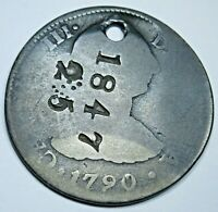1790 Spanish 2 Reales Counterstamp 1847 25 Cent Two Bits Countermark Trade Coin