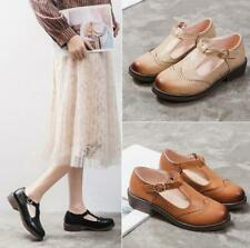 Women's T-Strap Brogues Mary Janes Retro Oxfords Round Toe Flat Heels Shoes Size