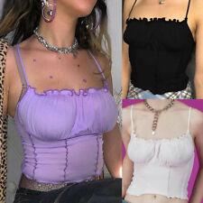 Women's Spaghetti Straps Ruffles Crop Top Backless Sleeveless Skinny Bralette WE