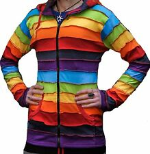 Stripe Patched Rainbow Hippy Jumper With Pixie Hood Fastival Outer Hoodie Jacket