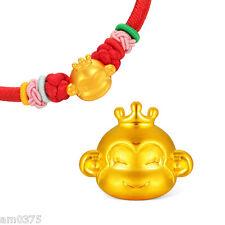 New Hot Sale Pure 999 24K Yellow Gold Pendant 3D Smart Monkey For DIY Bracelet