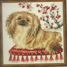 Pekingese-Light Brown Dog on Red Pillow-Flowers-Counted Cross Stitch Kit