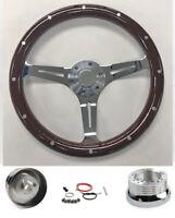 "67-68 Chevelle Nova Camaro Impala 15"" Dark Wood Steering Wheel on Chrome Spokes"