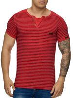 T-Shirt Col en V Rouge à Rayures Slim Fit Homme Chemise Clubwear John Kayna