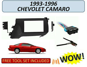Fits 1993-1996 CHEVROLET CAMARO DOUBLE DIN CAR STEREO INSTALL KIT, w/ Harness