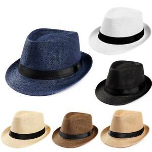 Men Women Summer Straw Fedora Hat Trilby Cuban Sun Cap Panama Short Brim Floral