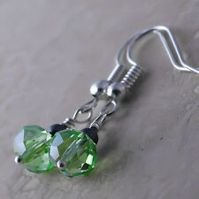 Silver Plated Dangle Fish Hook Earrings Faceted Peridot Crystal Hematite Ball