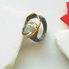 Amethyst grün gold schwarz rhod. Design Ring Ø 18,25 mm 925 Sterling Silber neu