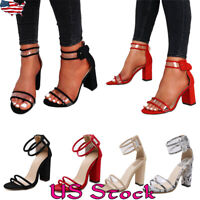 Women Chunky Heels Party High Heels Sandals Shoes Party Casual Ankle Strap Shoes